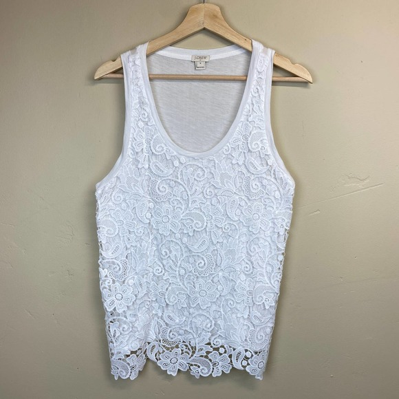 J. Crew Factory Lace Front White Tank Top